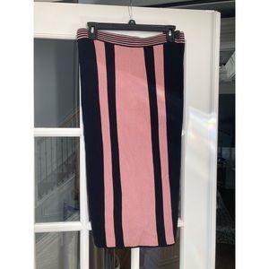 NWT EVA MENDES NY&C Pink and Black Striped Skirt